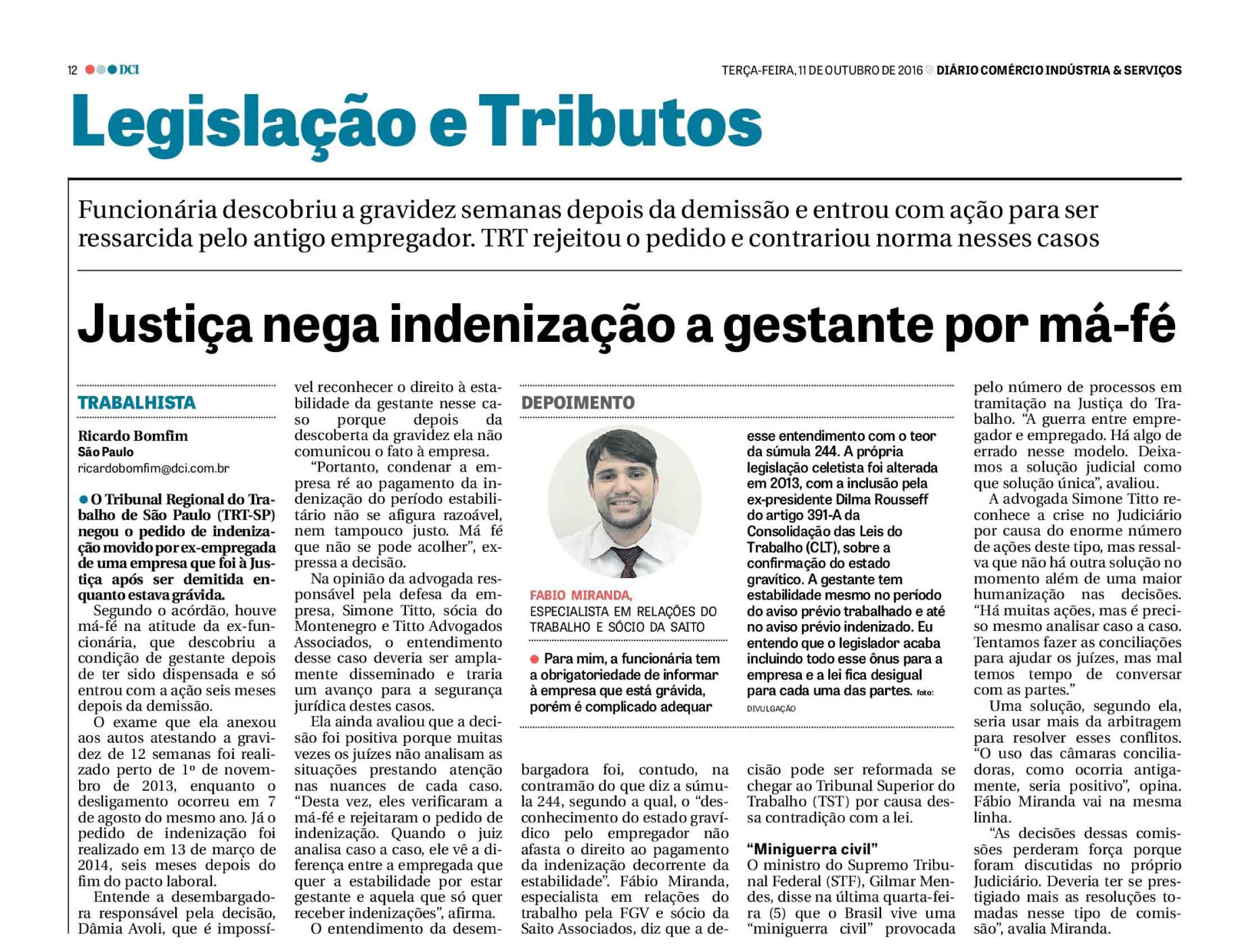 Entrevista do advogado Fabio Miranda para o jornal DCI