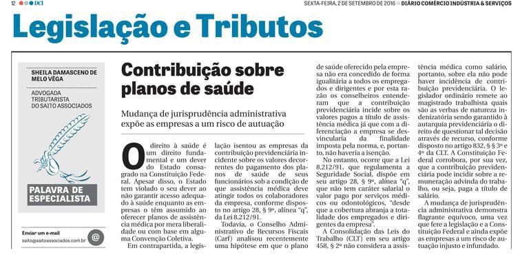 Artigo da advogada Sheila Damasceno de Melo Vêga publicado no jornal DCI