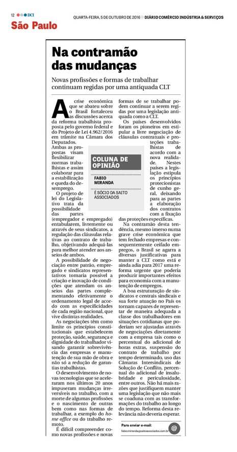 Artigo do Advogado Fábio Miranda publicado no dia 05 de outubro de 2016