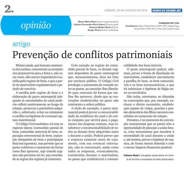 Artigo da advogada Tatiana Abad publicado no Diário do Grande ABC